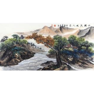 刘京河手绘真迹创作国画作品《小桥流水人家》