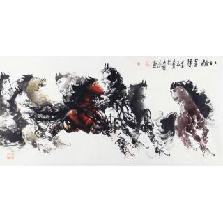 国画八骏图 王杰尺横幅动物画作品《八骏呈祥》