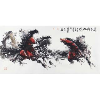 【已售】八骏图 王杰四尺横幅动物画《马到成功》