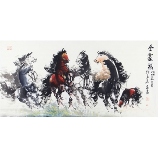 国画骏马图 王杰写意动物画作品《全家福》