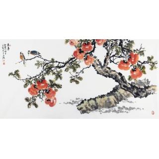 名家字画收藏 王占海四尺横幅花鸟作品《事事如意》