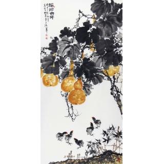 王占海新品写意花鸟画葫芦图《福禄吉祥》
