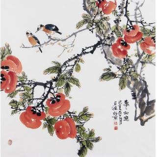 名家手绘花鸟画 王占海写意柿子国画《事事如意》