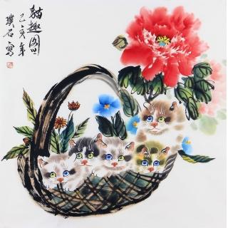 写意国画猫 璞石斗方动物画《猫趣图》