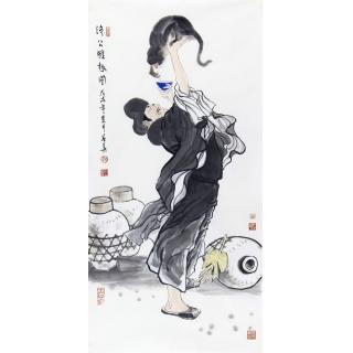 赵春华三尺竖幅活佛济公人物画作品《济公雅趣图》