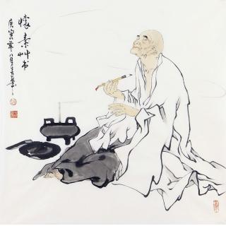 赵春华四尺斗方人物画作品《怀素》