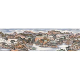 陈尝石八尺横幅山水画作品《清泉流金满福江》