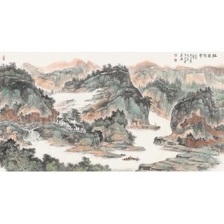 陈尝石新品力作六尺横幅山水画《江边帆影》
