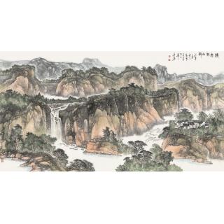 陈尝石新品创作国画写意山水画《清风静山村》