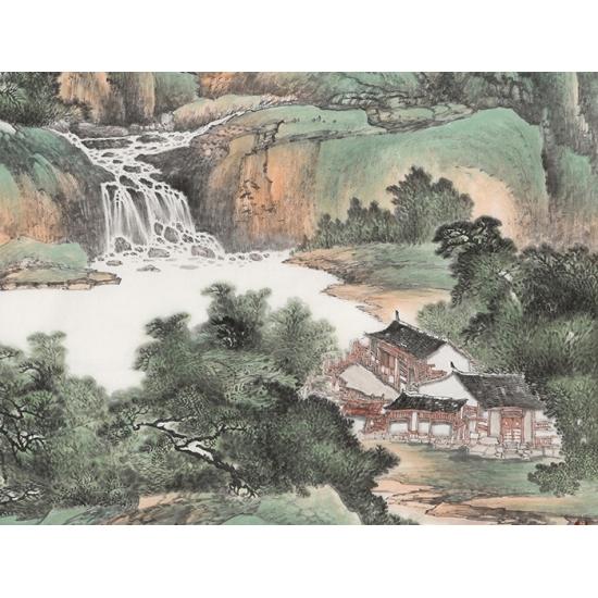 玄关挂画 陈尝石四尺竖幅国画山水《青然苗祡》