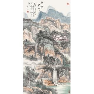 青绿山水画精品 陈尝石四尺竖幅佳作《泉流纳金》