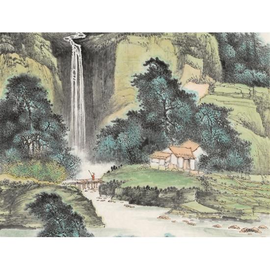室内装饰画 陈尝石新品竖幅国画《泉聲出翠》