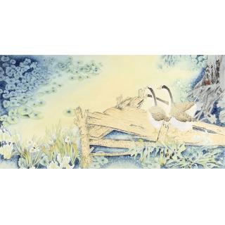 王淑梅四尺横幅工笔花鸟画《荷塘清幽》