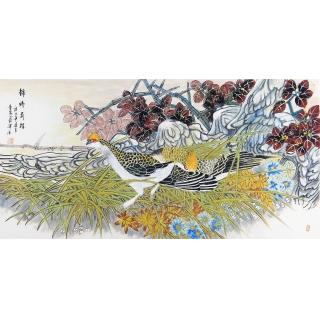【已售】中美协会员 董阳四尺横幅花鸟画《锦绣前程》