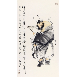 走廊装饰画 石慵三尺竖幅人物画《钟馗威震图》