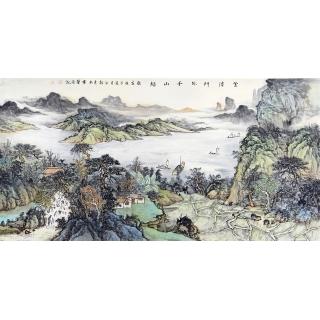 中国美协会员画家余静最新创作青绿国画《云消门外千山绿》