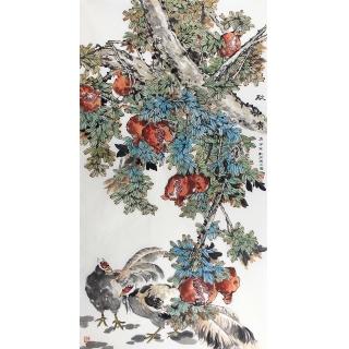 【已售】冯之茵六尺竖幅花鸟画石榴图《秋实》