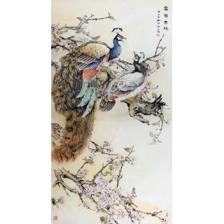 经典走廊玄关挂画 冯之茵花鸟画孔雀图《富贵吉祥》