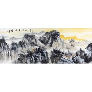 中美协会员曹来宾六尺横幅山水画《苍山集翠图》