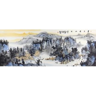 中美协会员 曹来宾六尺横幅山水画《画意远山明》