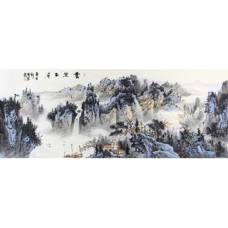 沙发背景墙挂画 曹海宾六尺青绿山水画作品《云漫玉屏》