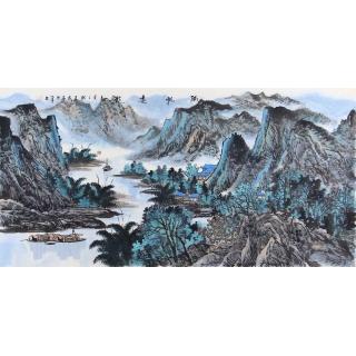 实力派画家中美协会员王众山水画《孤帆远影》
