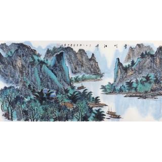 客厅装饰画 王众四尺横幅山水画《云川江畔》