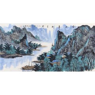 中美协会员 王众新品力作经典山水画《云江岸柳青俎竹》