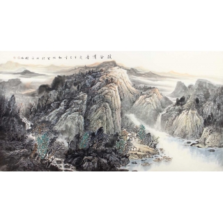 中美协会员李树林六尺横幅山水画《溪谷清音》