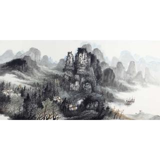 名家字画 中美协会员李树林四尺横幅山水画《渔歌》