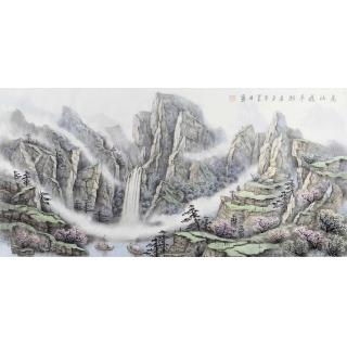 【已售】客厅装饰画 俎翠林四尺横幅山水画《高山藏平湖》
