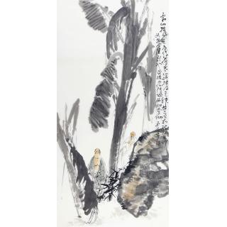 玄关走廊装饰画 中美协会员张京城四尺竖幅人物画《寒山拾得图》