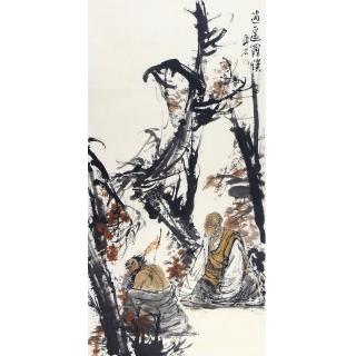 中美协会员张京城四尺竖幅人物画《逍遥罗汉》
