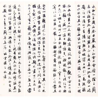 经典诗词 中国书协理事方放四条屏书法《兰亭序》