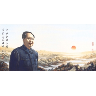 魏鸿四尺横幅人物画作品毛主席《江山如此多娇》 肖像画