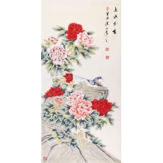 花开富贵图 张洪山四尺竖幅牡丹图《鸟语花香》