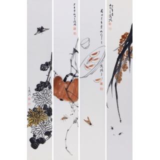 白石后人王子儒四条屏作品《草虫》